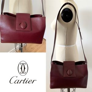 CARTIER Authentic Vintage Leather Crossbody Bag